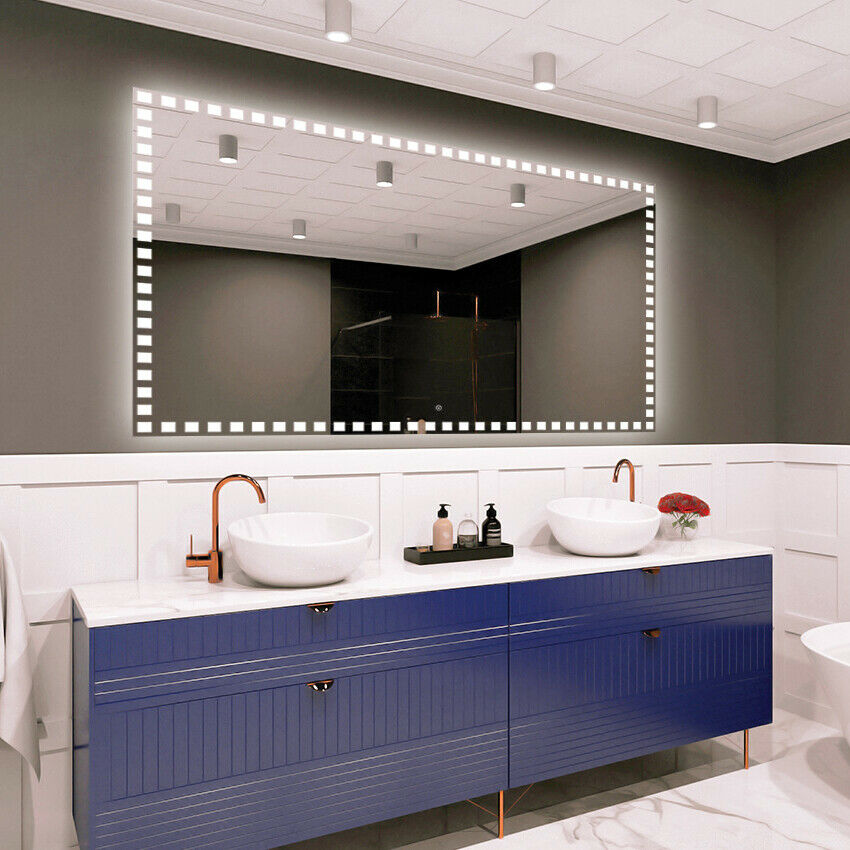 LED Illuminated Bathroom Wall Mirror Touch switch Größe Variants - DELUXE M1ZD-56