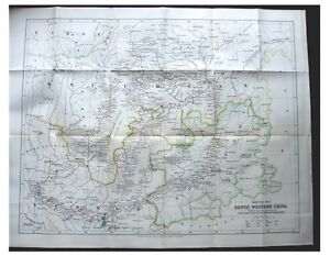 1886-Hosie-SOUTH-WESTERN-CHINA-Pre-Dates-Book-LARGE-COLOR-MAP-6