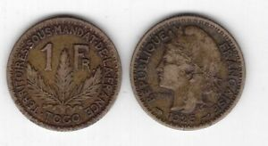 TOGO-FRENCH-MANDATE-RARE-1-FRANC-COIN-1925-YEAR-KM-2