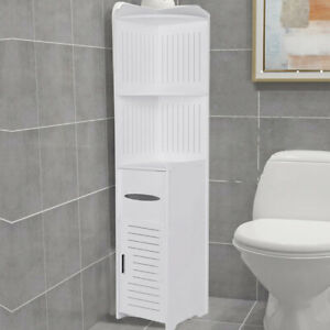 Modern Bathroom Corner Cabinet Floor Standing Storage Tall Cupboard White Wooden Ebay