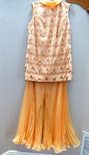 Vtg 60s 70's Stunning 2 Pc Apricot Pants Top Chiffon Lace Beaded Classy Suit XS