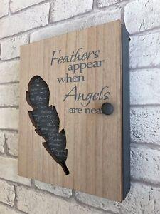 Wooden-Key-Box-6-Hooks-Cabinet-Keys-Angel-Feather-Design-Storage-Wall-Organiser