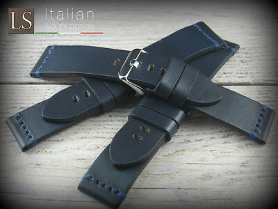 24 Italian Vintage Hand Genuine Buffalo Leather ILLINOIS Watch Strap Band D Blue