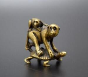 Chinese-Pure-brass-Turtle-back-monkey-small-statue