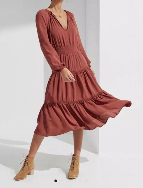 Urban Outfitters Dress Tiered Smocked Midi Small New With Tags Terra-cotta