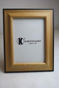 Fotorahmen-13x18-cm-Bilderrahmen-Holz-Schwarz-Honig-stehend-qualitativ-hoch-quer