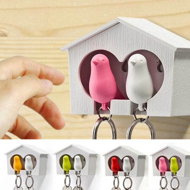 Lover Sparrow Birdhouse Home Wall Hook Bird Nest Keychain Holder Key Ring Decor