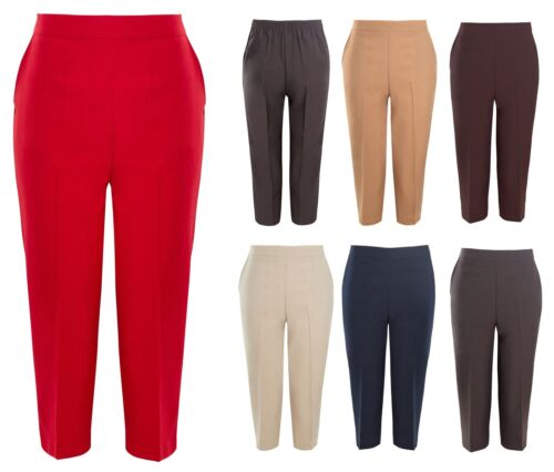 Ladies 3//4 Half Elasticated Trouser Capri Cropped Stretch Summer Pants UK 10-24