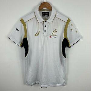 Asics-Wallabies-Polo-Shirt-Mens-Size-Medium-White-Short-Sleeve