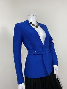 Zara-Jacket-XS-Cobalt-Blue-Blazer-Belt-Fastening-Work-Office-Party-Smart-Blogger