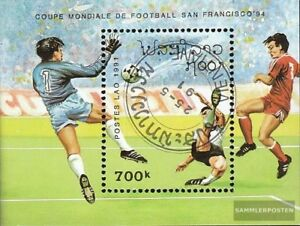 Laos-Block138-kompl-Ausg-gestempelt-1991-Fussball-WM-1994-USA