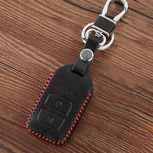 Black-PU-Leather-Car-Smart-Remote-Key-Case-Holder-Chain-Fob-For-Honda-HR-V-Vezel