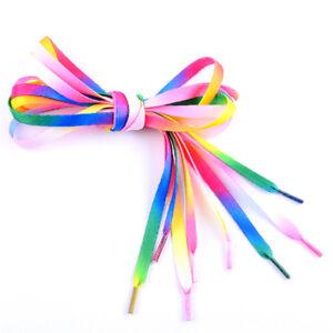 81531cd636 Details about 2PC 42'' Rainbow Flat Canvas Athletic Shoelace Sport Shoe  Laces Boots Strings CH