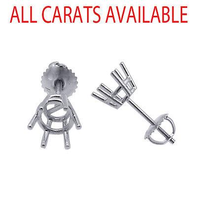 6 Prong Screw Back Basket Stud Earrings Castings 14K Solid White Gold