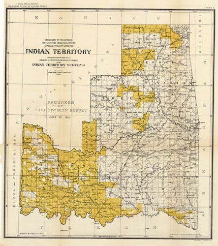 1898 Indian Territory Map Native American History Wall Art Poster Print Decor