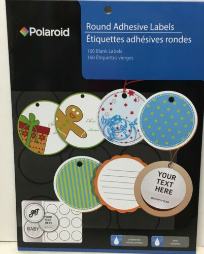 """2/"""" Polaroid Round Adhesive Labels 160 Blank Labels Suitable for Ink Jet Printers"""