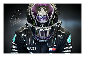Lewis Hamilton signed A4 Imprimé Photo autograph formule 1 7 fois champion du monde