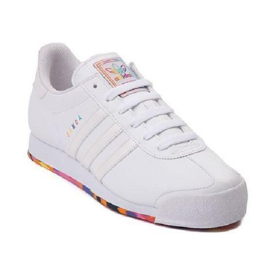 New Adidas Originals Samoa Athletic WHITE MONOCHROME RAINBOW Womens Shoes Multi