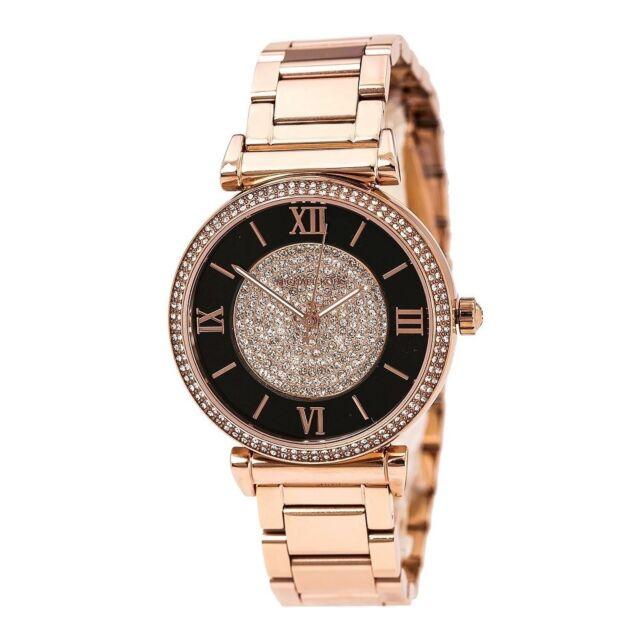 ebc1476e9e44 Michael Kors Women s MK3339 Caitlin Crystal Rose-Tone Stainless Steel Watch