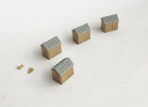 Outland Models Railway Scenery Food Market Stand Booth 4pcs Wood Style Z Scale