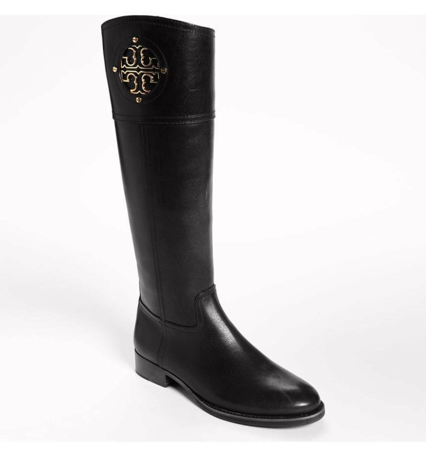495 Tory Burch Kiernan  Riding Boots Tall Flat Equestrian Booties 5.5 gold Logo