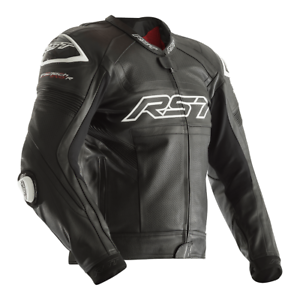 RST Tractech Evo R Leather Sports Motorcycle Motorbike Jacket - Black