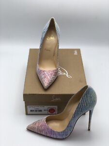 sports shoes 60fc7 82660 Details about NB Christian Louboutin So Kate 120 Blue Pink Purple Unicorn  Suede Heel Pump 38.5