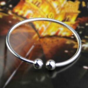 Damen-Herren-Silber-ueberzogenes-Open-Ende-Armreif-Charm-Armband-Manschette-x-1