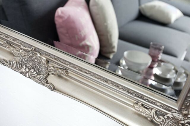 Wandspiegel Rechteckig Silber Spiegel BAROCK Antik Repro Shabby 105x75 cm
