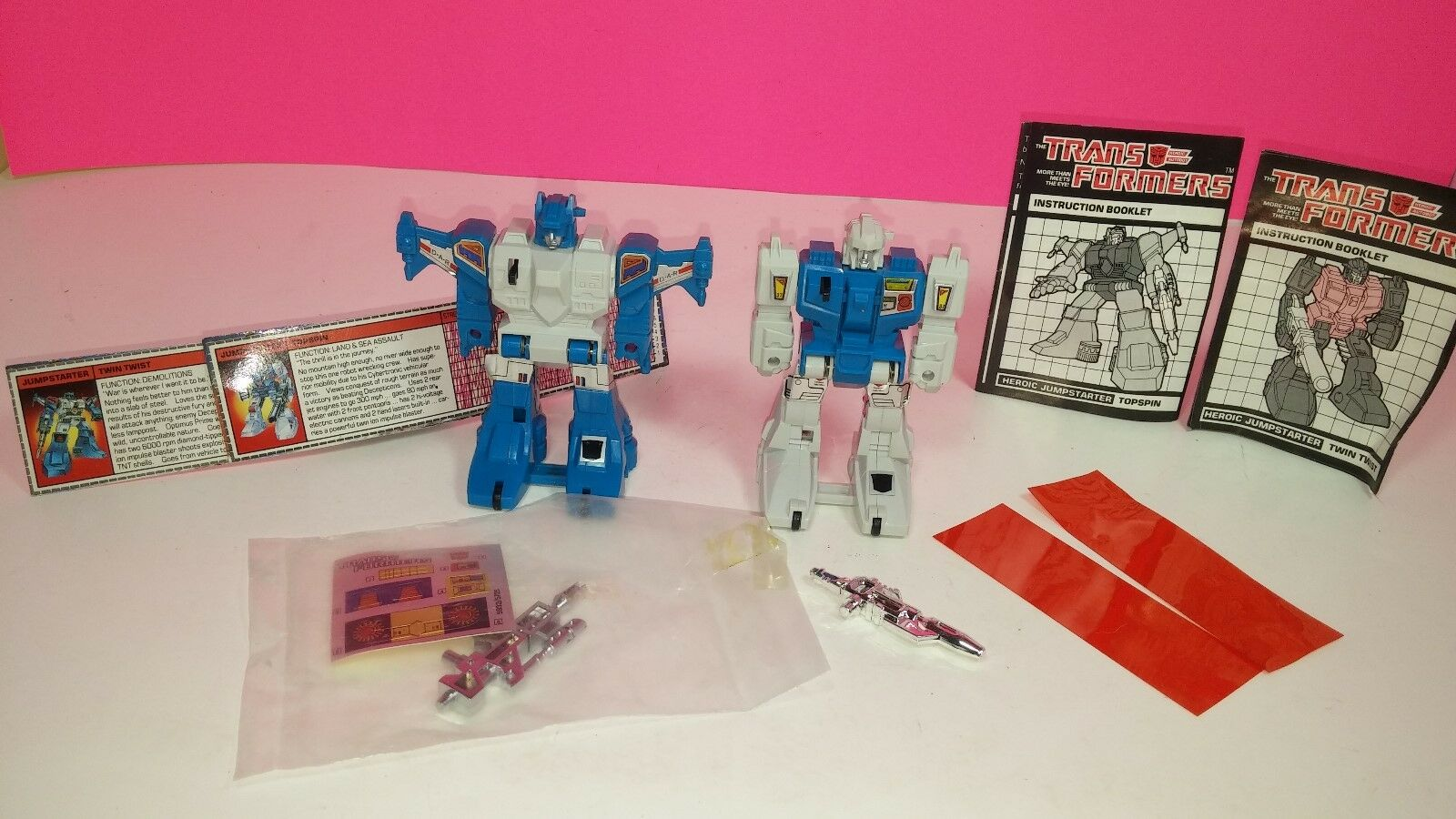 Transformers G1 Jumpstarter Twin Twist   Topspin Vintage Action Figure Lot 1985