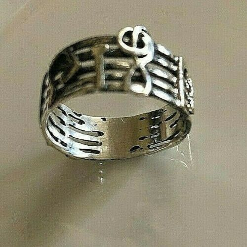 Band Men or Women Ring Details about  /8MM 925 Sterling Silver Taxco Silver Music notes Rings