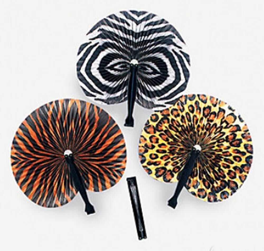 24-120 Safari Animal Print Folding Fans Party Favor Paper Hand Held Jungle Lot