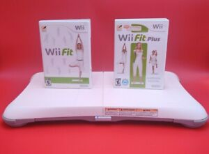 Nintendo Wii Fit & Fit Plus with Balance Board Wii Bundle Lot Games Clean/Tested