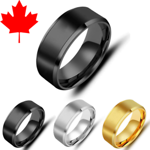 a978f9bf26cb2 Details about MEN'S RING GOLD / SILVER / BLACK / WOOD FASHION RINGS - ALL  SIZES - CANADA !