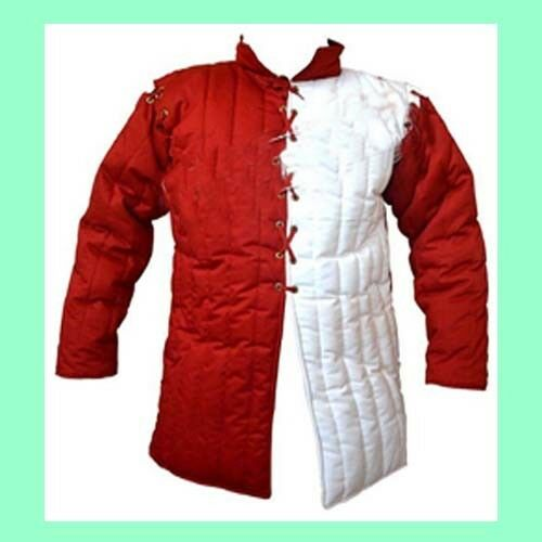 Medieval Reenactment Thick Red white Historical Padded Gambeson Aketon m