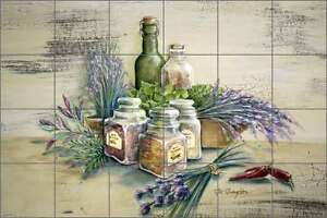 Ceramic-Tile-Mural-Backsplash-Broughton-Herbs-Spices-Kitchen-Art-EC-RB002