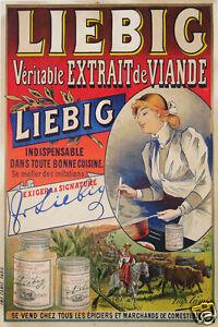 affiche publicitaire ancienne liebig veritable extrait de viande circa 1900 ebay. Black Bedroom Furniture Sets. Home Design Ideas