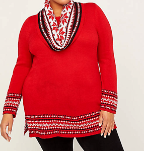 Catherines-4X-30-32-Tunic-Sweater-Scarf-Women-039-s-Red-Fair-Isle-Duet-70-Bust-66