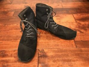 TOMS-Black-Leather-High-Top-Sneakers-Size-14