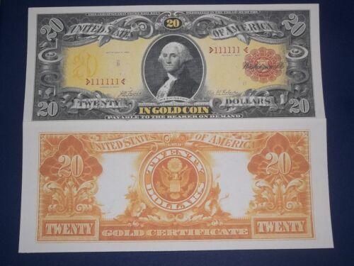 1905 $20 GOLD CERTIFICATE COPY NICE LOOKING CRISP UNC