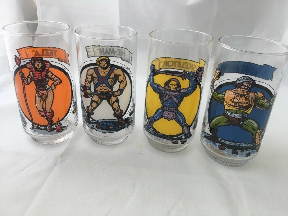 Set Masters Of Universe MOTU Drinking Glass  He-Man Skeletor Teela Man (4)