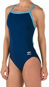Speedo-Women-039-s-Swimwear-Blue-Size-26-One-Piece-Contrast-Trim-Open-Back-69-443