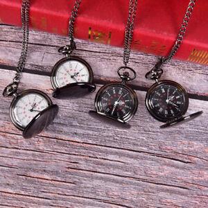 Retro-Smooth-Black-Pocket-Watch-Silver-Pendant-Polish-Quartz-Engraved-Gi-Nd