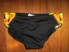 TYR Men's Durafast Briefs Competition Swimsuit Yellow Black 28 FLAWLESS