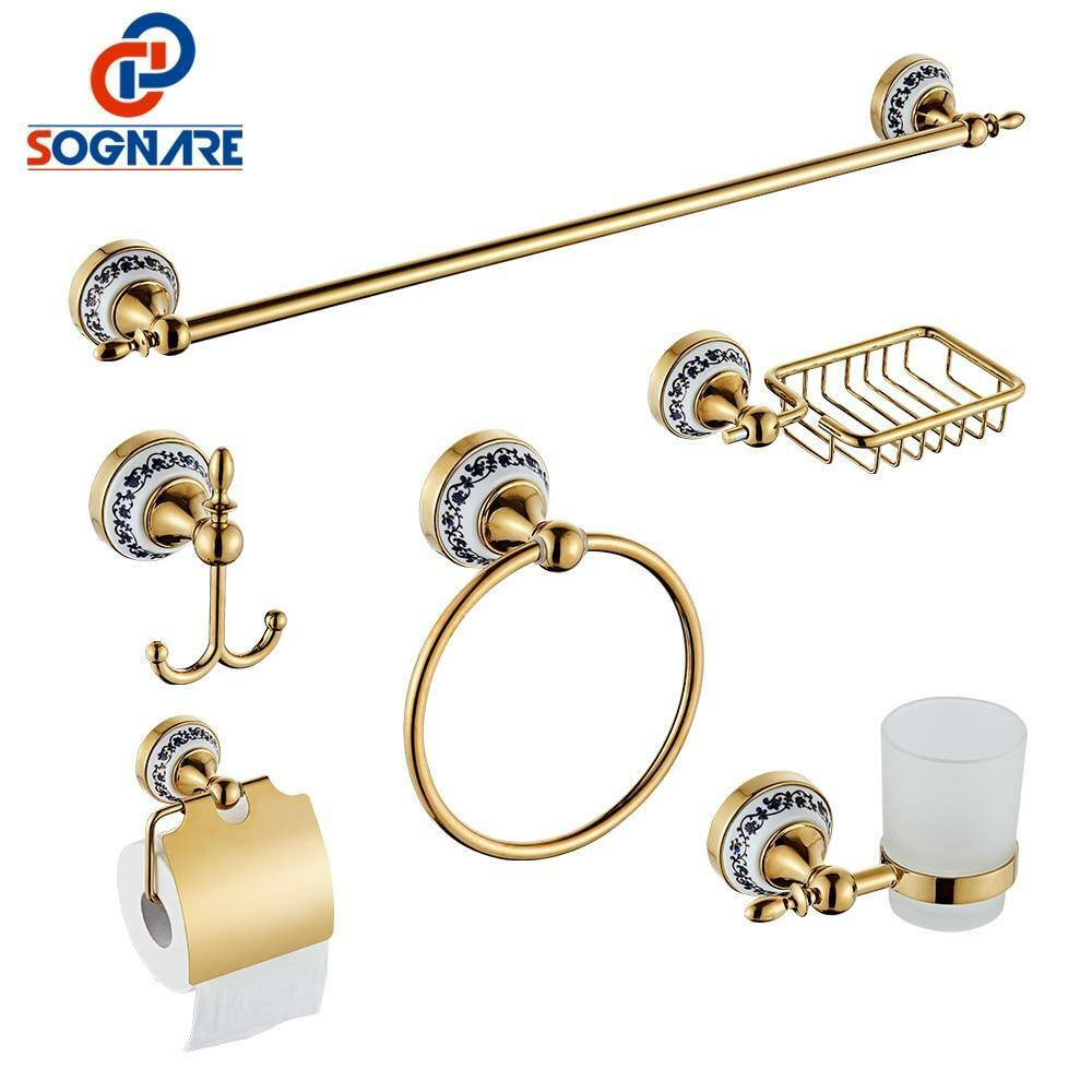 6pcs Bathroom Accessories Single Towel Bar, Robe Hook, Paper Holder, Cup Holder,