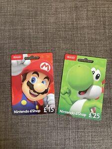 Nintendo eShop UK Edition Super Mario & Yoshi Gift Card 15£ + 25£ (No Credit)