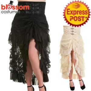 Off White Victorian Lace Steampunk Vintage Gothic Punk Skirt By Banned Apparel