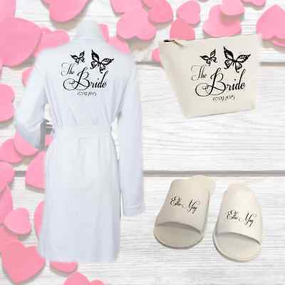 Personalised Butterfly Wedding Kit Robe Slippers and Bag | Gift for Bridal Party