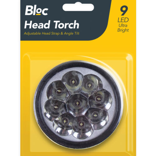 Ultra Bright 9 DEL Angle réglable inclinable Tête Torche Lampe LEGER Camping