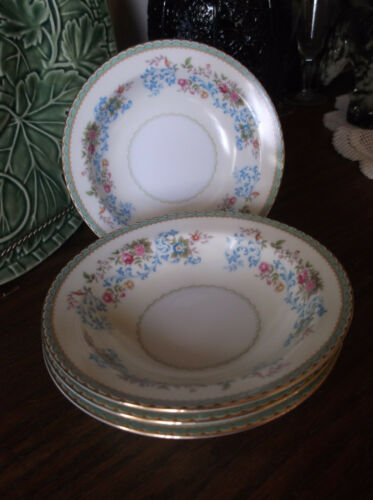 "4 Wentworth China BluTrail Sauce Dessert Bowls 5 1//2/"" Light Green Border Ivory"